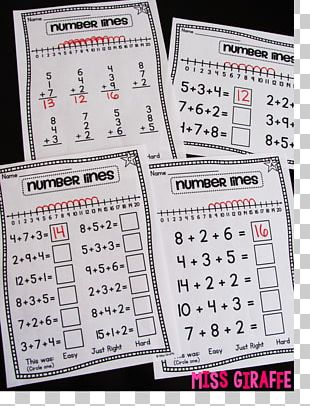Addition Mathematics Number Line Worksheet PNG