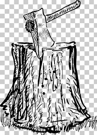 Hatchet Tree Stump Axe Drawing PNG