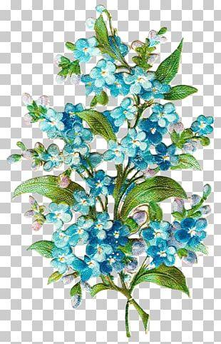 Border Flowers Blue Paper PNG