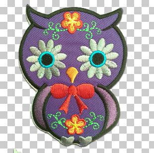 Owl Embroidered Patch Appliqué Embroidery Iron-on PNG