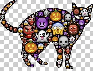 Black Cat Halloween Trick-or-treating PNG
