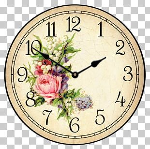 Floral Clock Flower Table Wall PNG