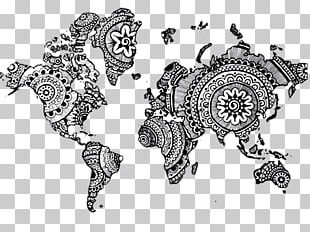World Map Mandala Drawing PNG