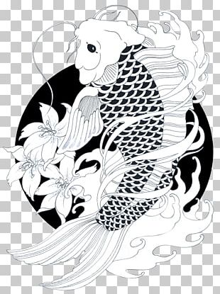 Koi Goldfish Drawing Carp Black And White PNG