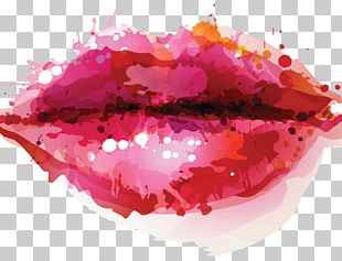Watercolor Lips Illustration PNG