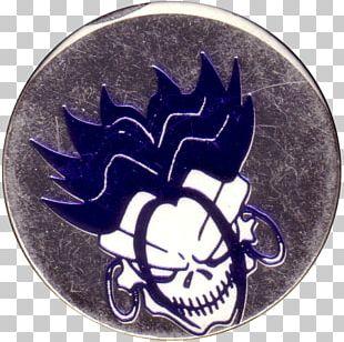 Skull Cobalt Blue Emblem Badge Earring PNG
