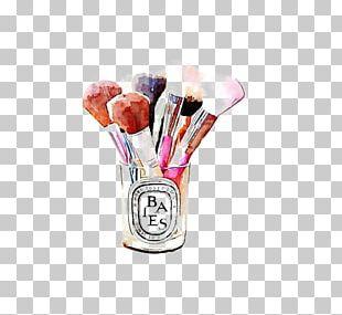 Cosmetics Makeup Brush Watercolor Painting Illustration PNG