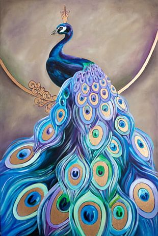 Watercolor Painting Peafowl Oil Painting Drawing PNG