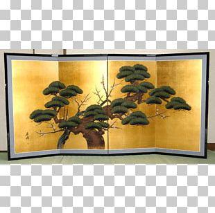 Shōsōin Ink Wash Painting Nihonga Folding Screen Byōbu PNG