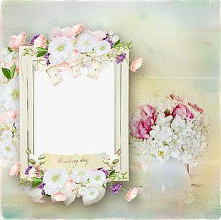 Cartoon White Wedding Photo Frame Creative PNG
