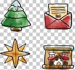 Christmas Tree Envelope Watercolor Painting PNG