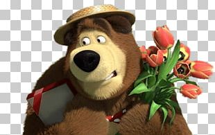 Bear Holding A Present And Flowers PNG
