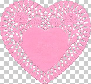 Doily Heart Valentine's Day Paper PNG