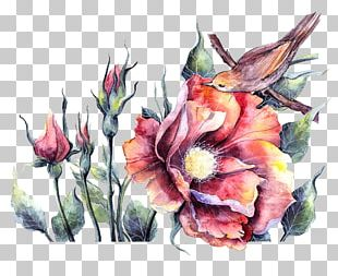 Bird Watercolor Painting Floral Design Illustration PNG