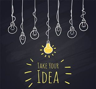 Incandescent Light Bulb Blackboard Drawing PNG