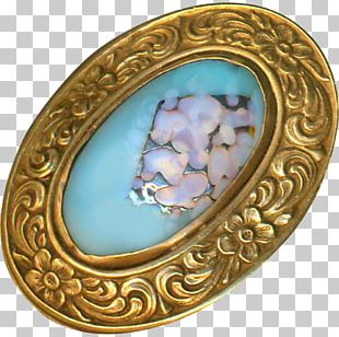 Oval M Turquoise Brooch Locket PNG
