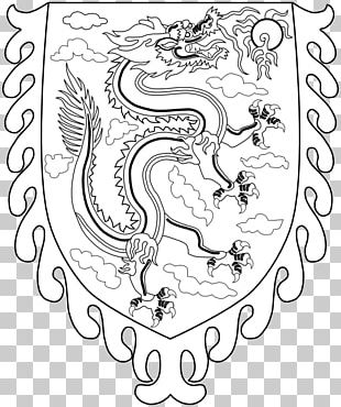 Black And White Line Art Drawing Dragon PNG