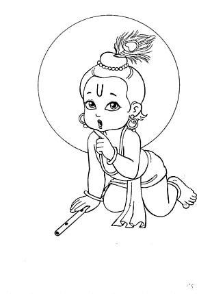 Krishna Janmashtami Drawing Bala Krishna Radha Krishna PNG