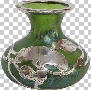 Johann Loetz Witwe Vase Glass Silver Overlay Sterling Silver PNG