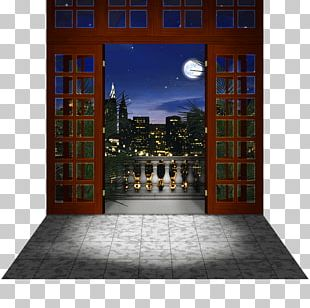 Facade Balcony Night City PNG