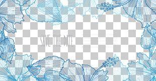 Flower Border Blue Euclidean PNG