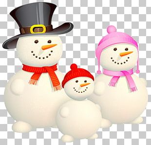 Christmas Family Snowman Illustration PNG