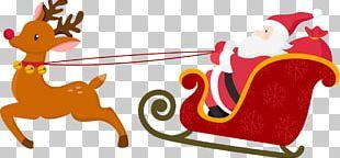 Santa Claus Sled Christmas Poster PNG