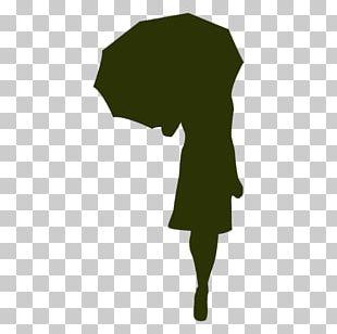Silhouette Umbrella Woman PNG