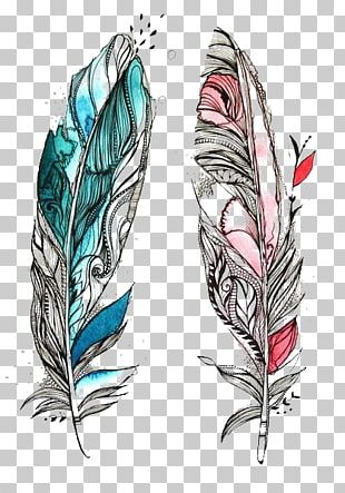 Bird Feather Drawing Tattoo Sketch PNG