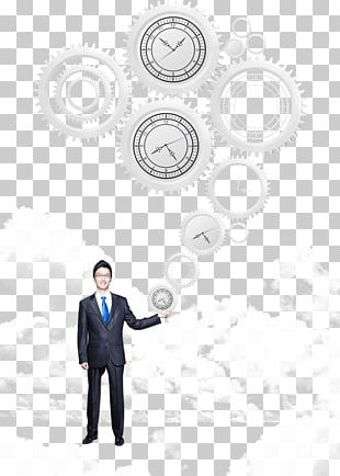 Business Man Holding Gear PNG