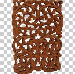 Window Wood Carving Floral Design PNG