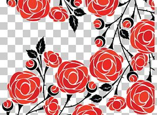 Rose Flower Drawing Pattern PNG