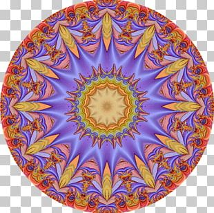 Cobalt Blue Kaleidoscope Symmetry Circle Pattern PNG
