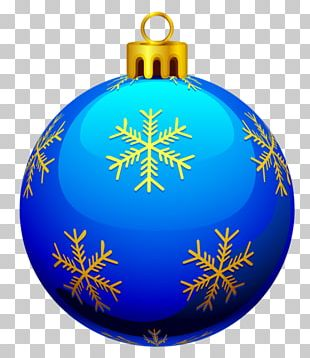 Christmas Ornament Blue Yellow PNG
