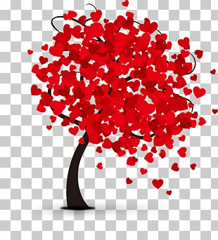 Valentines Day Hearts Tree PNG
