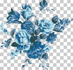 Blue Hand-painted Flowers PNG