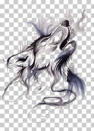 Gray Wolf Tattoo Ink Flash Drawing PNG