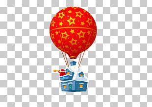 Santa Claus Christmas Hot Air Balloon Illustration PNG