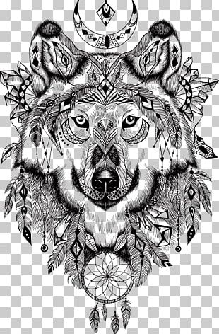 Gray Wolf T-shirt Aztec Illustration PNG