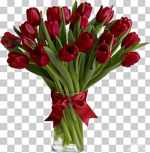 Tulip Flower Bouquet Red Floristry PNG