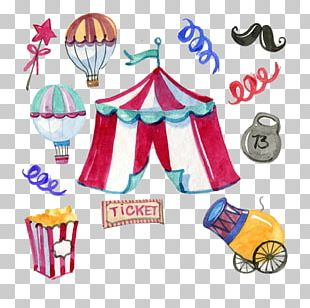 Circus Watercolor Painting Graphic Design PNG