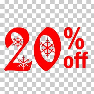 Snow Christmas Sale 20% Off Discount Tag. PNG