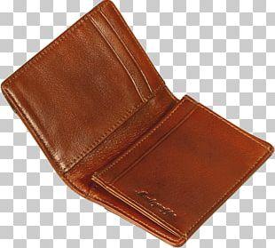 Wallet Brown Leather Caramel Color PNG