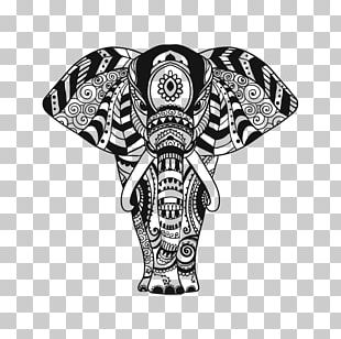 Indian Elephant Ornament Pattern PNG