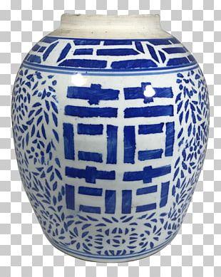 Vase Blue And White Pottery Ceramic Cobalt Blue Urn PNG