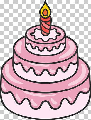 Hand-painted Three-tier Pink Cake PNG