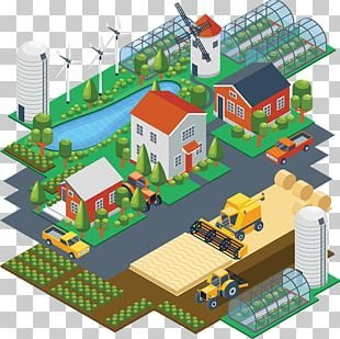 Isometric Projection Flat Design Field Drawing PNG