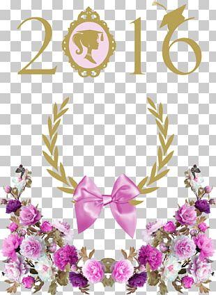 Graduation Ceremony Party School Paper Floral Design PNG