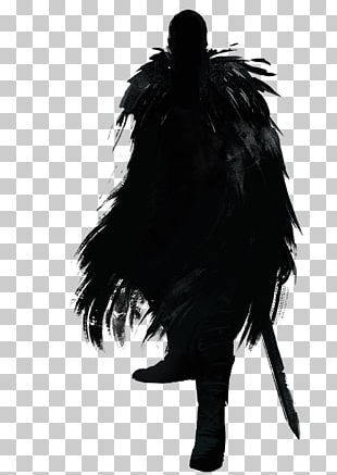 Black M Silhouette White Feather PNG