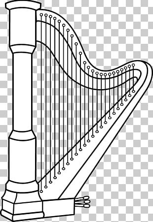 Celtic Harp Musical Instruments Coloring Book PNG